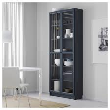 billy bookcase with glass doors dark blue 80x30x202 cm ikea