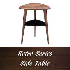 Side table triangle night table antique Walnut row retro stylish bedside  table mid-century shelves Nordic width 46 cm desk mini table living dining  vase ...