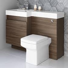 modern walnut bathroom vanity unit countertop basin back to wall toilet