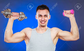 Lifting Light Weights Sporty Fit Man Lifting Light And Heavy Dumbbells Weights Young