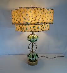 lamp shades table lamps modern. Vintage Mid Century Modern Porcelain And Brass Table Lamp With 2 Tiered Fiberglass Shade Green White Eames Era Atomic Space Age Shades Lamps