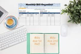 Bill Organizer Interesting Monthly Bill Organizer Bill Tracker Calculates Total Due Etsy