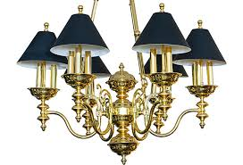 victorian style brass chandelier with black shades