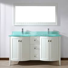 Glass Bathroom Cabinets Bridgeport 60 Inch White Modern Bathroom Vanity Mint Green Glass Top