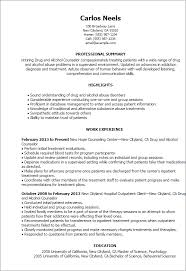 Resume Templates: Drug And Alcohol Counselor