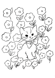 Kitten Coloring Pictures Kitten In Flowers Coloring Page Cute Kitten