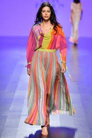 Female Set Designers Multicolor Stripes Skirt Set Designers