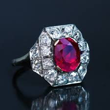 art deco 2 60 ct burmese ruby diamond enement ring