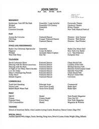 examples of dance resumes