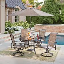5 piece outdoor dining set. Hampton Bay Statesville Pewter 5-Piece Aluminum Outdoor Dining Set 5 Piece Z