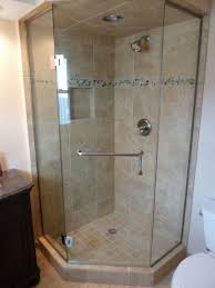 frameless neo angle shower enclosure 3 8 inch clear glass brushed nickel hardware towel bar installed in west allis