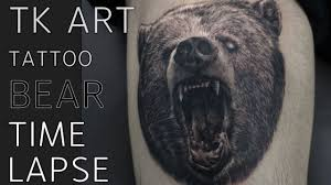 Tattoo Time Lapse Black And Grey Bear Tattoo Realistic Tattoo Tk Art