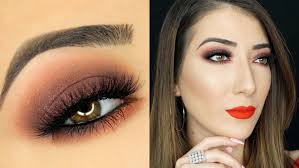 orange and brown smokey eye makeup tutorial