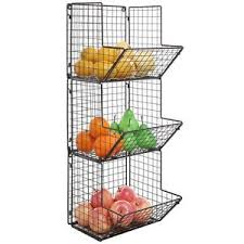 Image is loading Wall-Mount-Rack-Fruit-Basket-Holder-Storage-Metal-