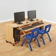 Beech Computer Desk Double