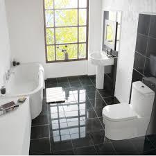 Best Classic Black And White Bathroom Floor Tile Id Sleek Design Grey Bathroom Suite Decorating Ideas