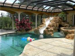 indoor pool house with slide. 24 Awesome Home Indoor Pool Design With Slide To Make Your Kids Have Fun \u2013 SPACES House