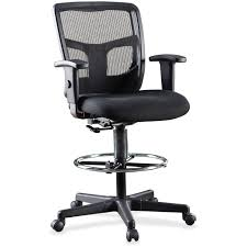 Stool Office Chairs Lorell Ratchet Back Mesh Mid Back Stool Black Walmart