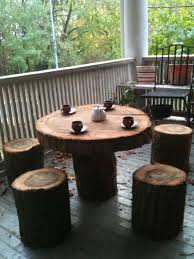 tree trunk furniture for sale. tree stump round outdoor coffee table with four stumpchairs on wooden flooring trunk furniture for sale t