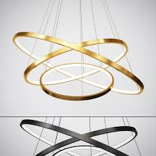 black and gold modern chandeliers circle rings 3d model max obj fbx mtl 1