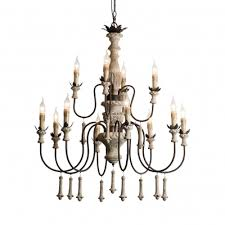 wood and metal candle chandelier light