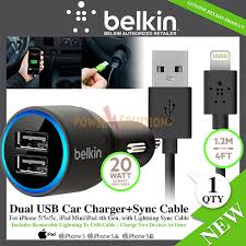2 1A Dual USB Car Charger with Lightning Sync Cable for iPhone 5