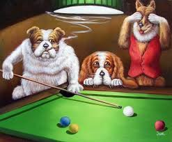 painting dogs playing pool classic pop art stretched 20x24 oil on canvas painting