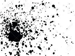 ホワイト ペーパーに黒の水彩絵の具が飛び散った