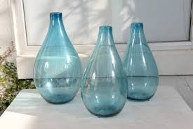 vintage decorative blue glass vases teardrop vase with baer top with baby blue patina