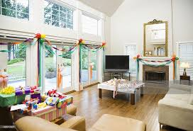 party decorations and gifts in living room stock photo getty images