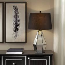 silver antiqued mirror table lamp black shade add
