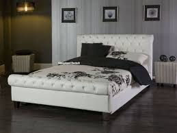 phoenix white faux leather kingsize bed frame