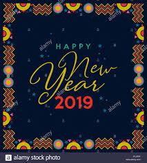 Happy New Year 2019 holiday greeting card illustration. Fun frame ...