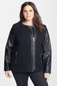 image of bebe asymmetrical faux leather sleeve textured jacket plus size
