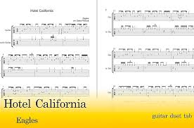 Guitar and voice sheet music book by don henley, glenn frey, and don felder: Hotel California Free Guitar Duet Tab Edora Tabs And Sheet Music