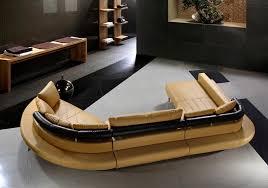 Tosh Furniture Ultra Modern Camel Leather Sectional Sofa Set