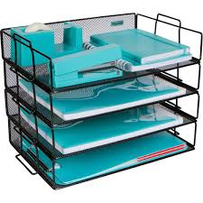 Stackable Paper Tray Desk Organizer 4 Tier Metal Mesh Letter Organizers For Business Home School Stores And More Organize Files Folders