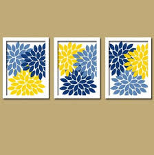 >pin by katelyn firestein on room pinterest room yellow navy blue flower burst dahlia artwork set of 3 trio prints decor abstract picture bedroom wall art bathroom