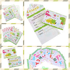 kids birthday party invitations 1set dinosaur theme invitations for kids birthday party invitation card disposable towel ribbon decoration party supplies
