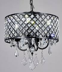 materials metal crystal finish antique black crystal clear contemporary style pendant chandelier with crystal beaded drum shade