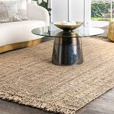 nuloom hand made chunky loop natural jute area rug in tan color