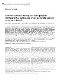 Pdf Isometric Exercise Training For Blood Pressure