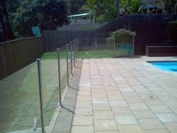 semi frameless glass pool fence with stainless steel round posts