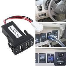 Ổ cắm sạc nhanh trên ô tô với 2 cổng USB 12V cho xe Toyota loa bluetooth