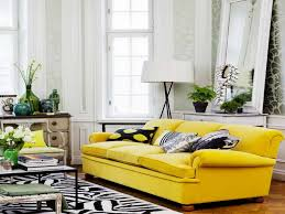 Yellow Living Room Living Room White Pendant Lights Gray Sofa Gray Rug White Futons