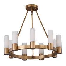 maxim lighting international contessa natural aged brass nine light single tier chandelier with satin white glass shade