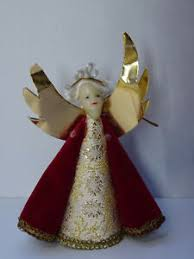 Details Zu Christbaumschmuck Rauschgoldengel Engel Weihnachtsschmuck Wachs Brokat Angel Rot