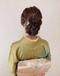 訪問着 結婚式 エレガント ヘアアレンジ福岡天神ヘアセット着付け