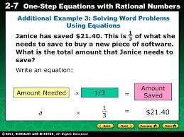 solving one step equations word problems tessshlo