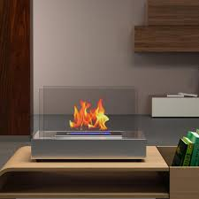 Moda Flame Vigo 14 In VentFree Ethanol Fireplace In Stainless Ethanol Fireplaces